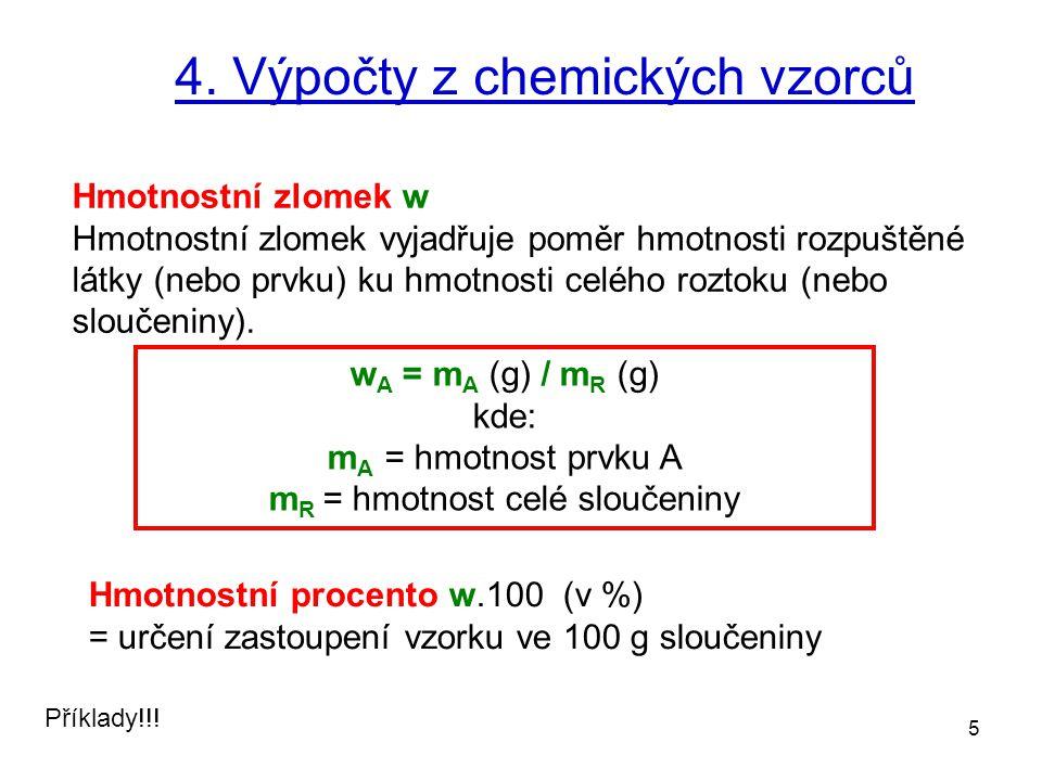 4. Výpočty z chemických vzorců