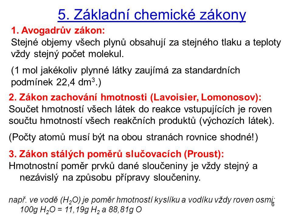 5. Základní chemické zákony