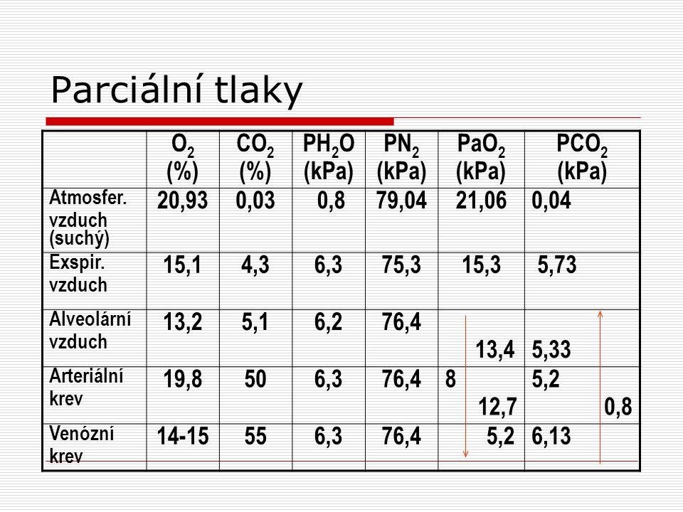Parciální tlaky O2 (%) CO2 PH2O (kPa) PN2 PaO2 PCO2 20,93 0,03 0,8