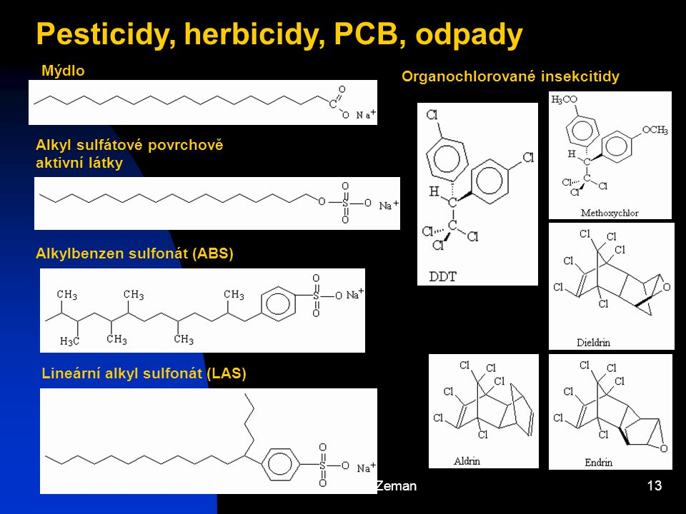 Pesticidy, herbicidy, PCB, odpady