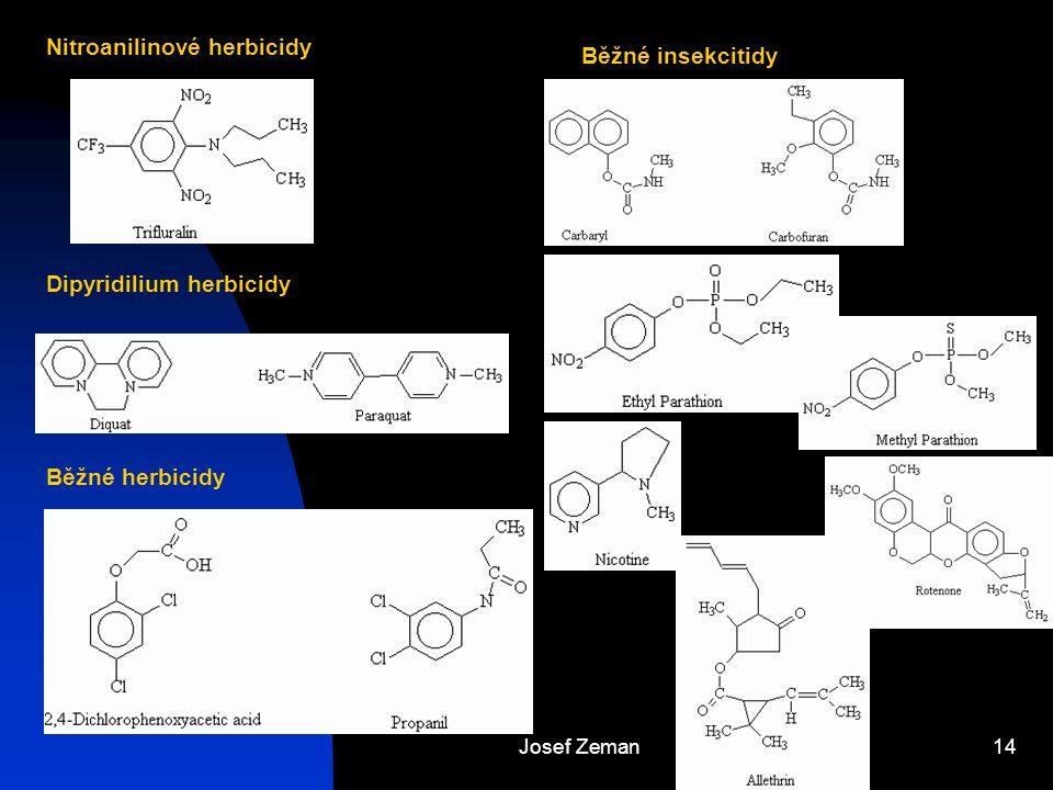 Nitroanilinové herbicidy Běžné insekcitidy