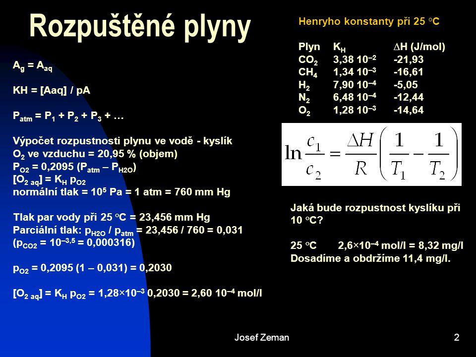 Rozpuštěné plyny Henryho konstanty při 25 °C Plyn KH ∆H (J/mol)