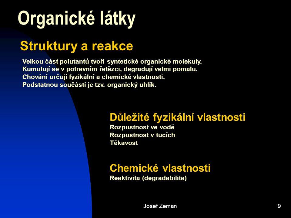 Organické látky Struktury a reakce Důležité fyzikální vlastnosti