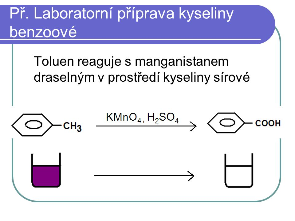 Př. Laboratorní příprava kyseliny benzoové