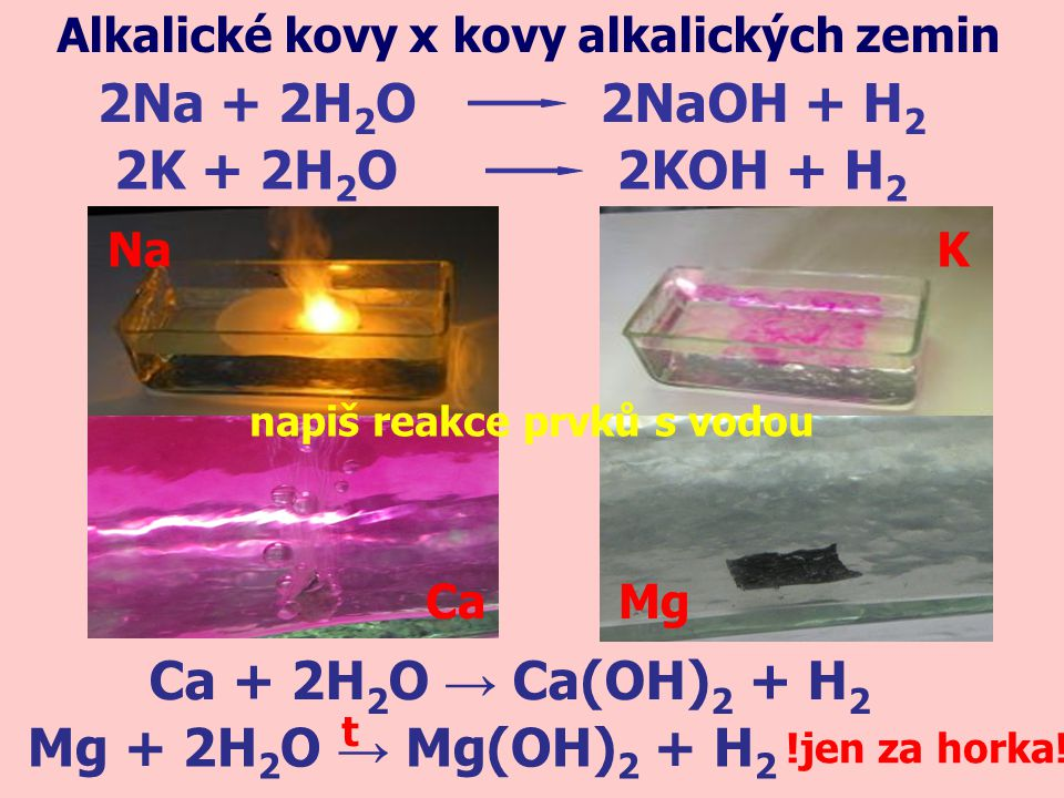 2Na + 2H2O 2NaOH + H2 2K + 2H2O 2KOH + H2 Ca + 2H2O → Ca(OH)2 + H2