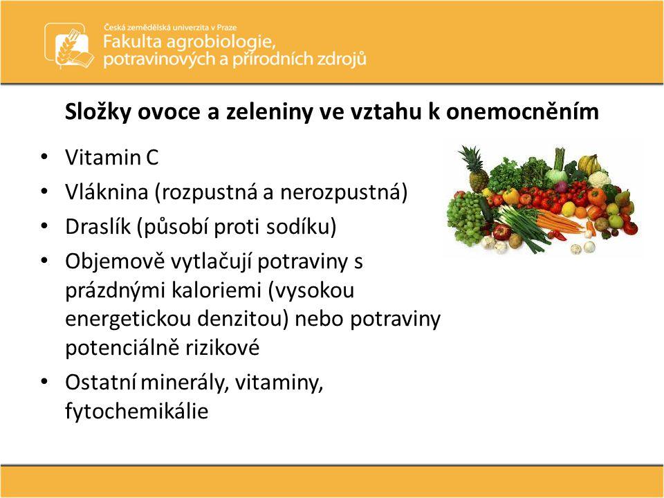 Složky ovoce a zeleniny ve vztahu k onemocněním