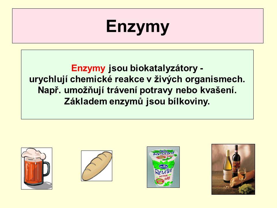 Enzymy Enzymy jsou biokatalyzátory -
