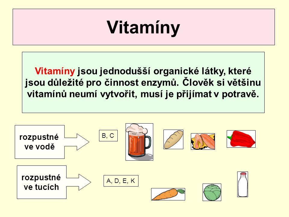 Vitamíny jsou jednodušší organické látky, které