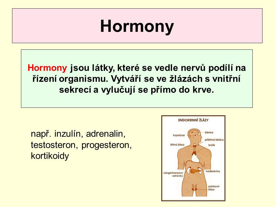 Hormony Hormony jsou látky, které se vedle nervů podílí na řízení organismu. Vytváří se ve žlázách s vnitřní sekrecí a vylučují se přímo do krve.