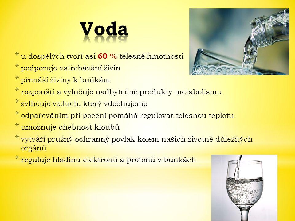 Voda u dospělých tvoří asi 60 % tělesné hmotnosti