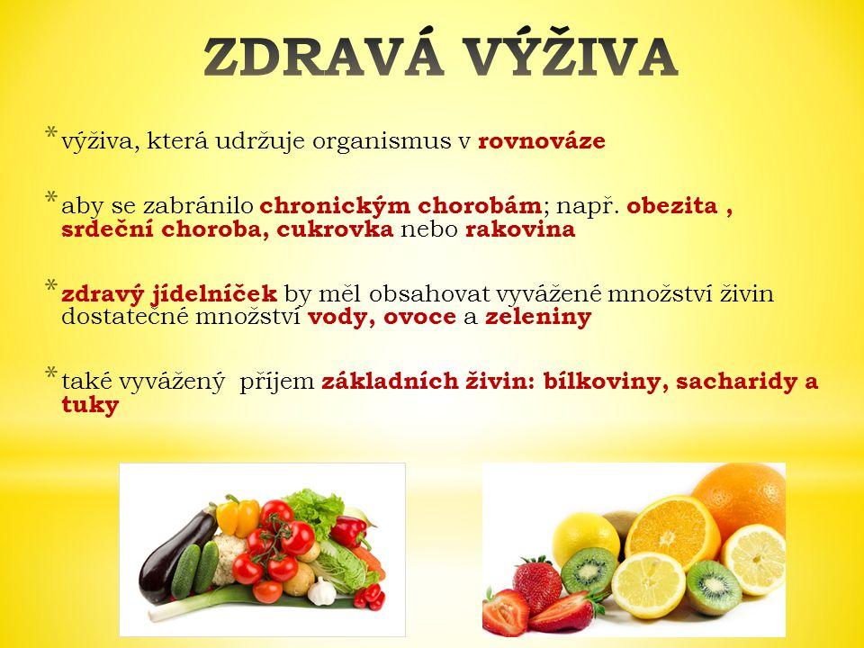 ZDRAVÁ VÝŽIVA výživa, která udržuje organismus v rovnováze