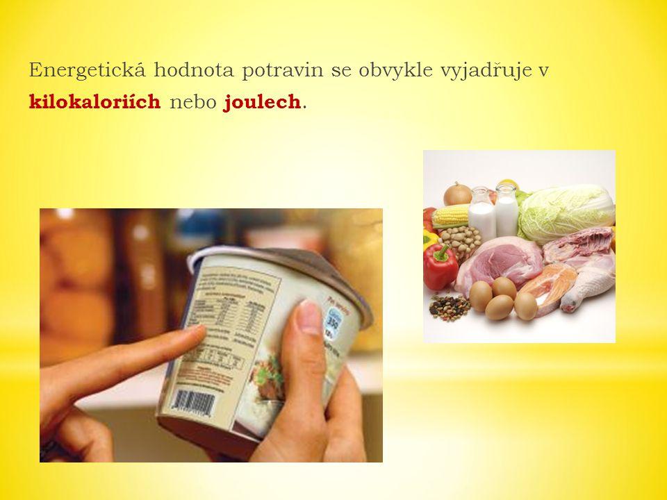 Energetická hodnota potravin se obvykle vyjadřuje v kilokaloriích nebo joulech.