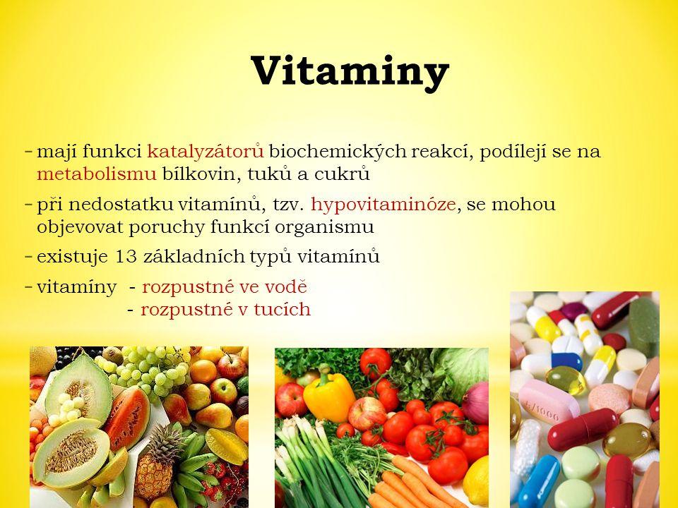 Vitaminy mají funkci katalyzátorů biochemických reakcí, podílejí se na metabolismu bílkovin, tuků a cukrů.