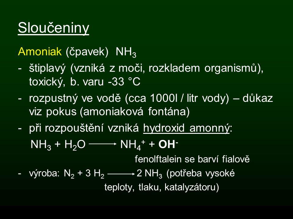 Sloučeniny Amoniak (čpavek) NH3