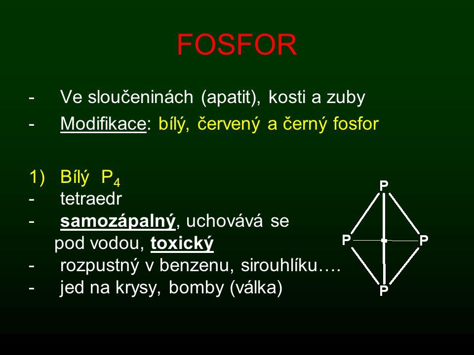 FOSFOR Ve sloučeninách (apatit), kosti a zuby