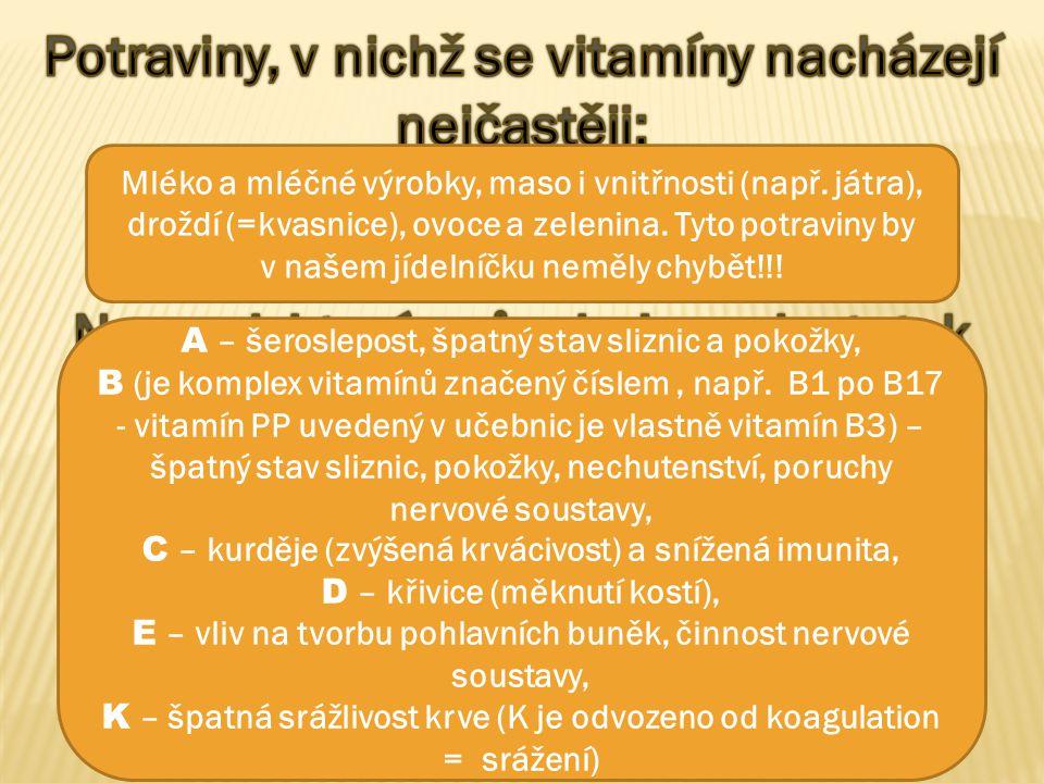Potraviny, v nichž se vitamíny nacházejí nejčastěji: