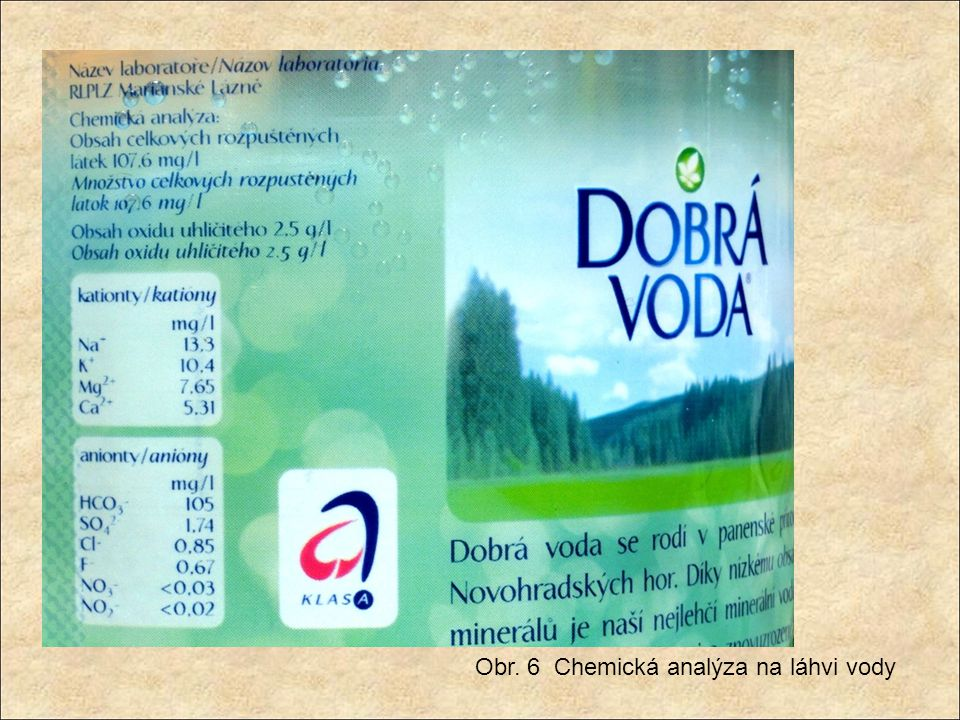 Obr. 6 Chemická analýza na láhvi vody