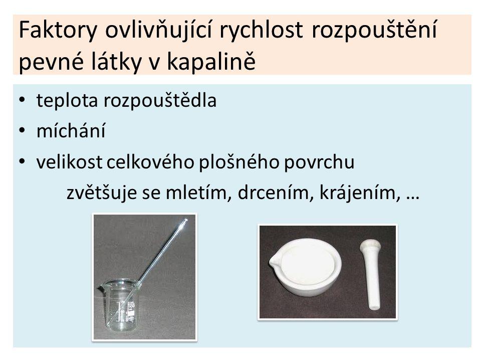 Faktory ovlivňující rychlost rozpouštění pevné látky v kapalině