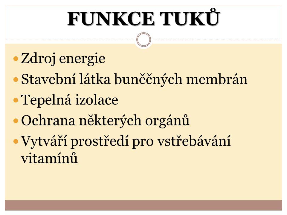 FUNKCE TUKŮ Zdroj energie Stavební látka buněčných membrán