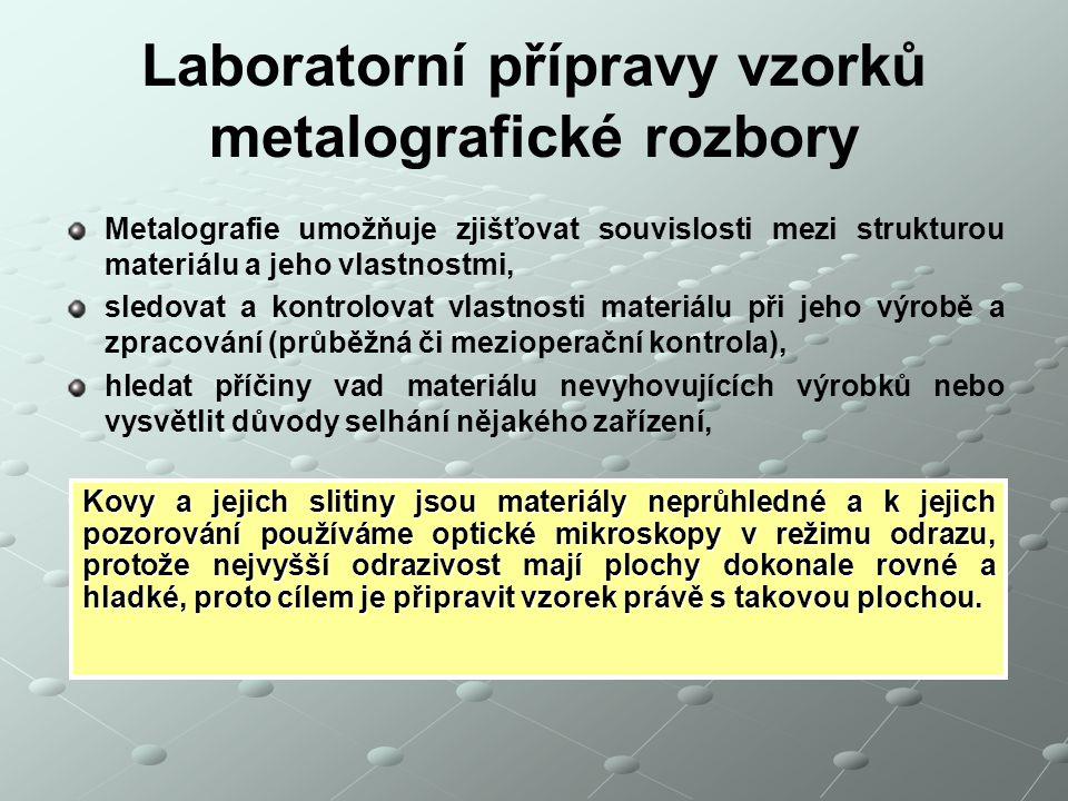 Laboratorní přípravy vzorků metalografické rozbory