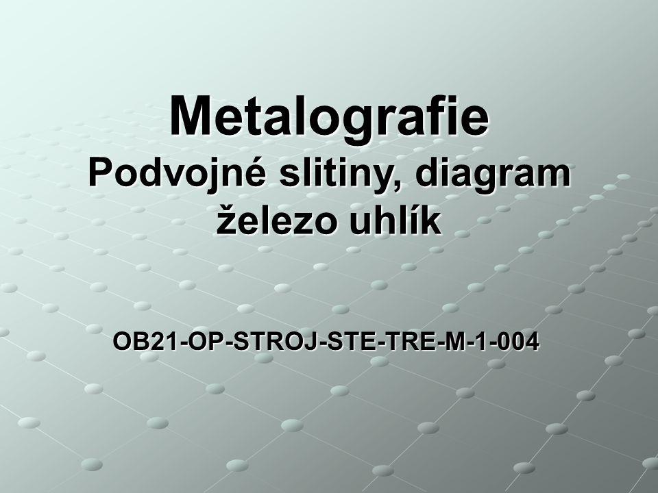 Podvojné slitiny, diagram železo uhlík OB21-OP-STROJ-STE-TRE-M-1-004