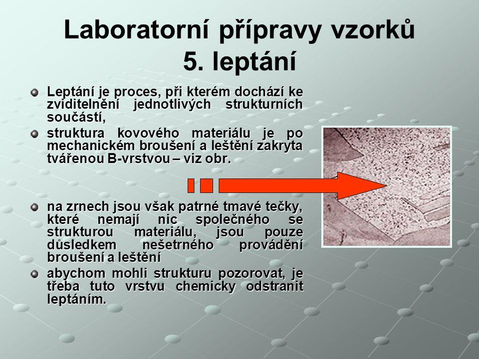 Laboratorní přípravy vzorků 5. leptání