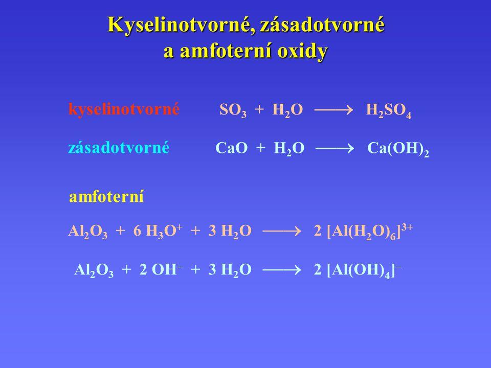 Kyselinotvorné, zásadotvorné a amfoterní oxidy