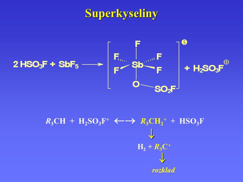 Superkyseliny  H2 + R3C + R3CH + H2SO3F+  R3CH2+ + HSO3F  rozklad