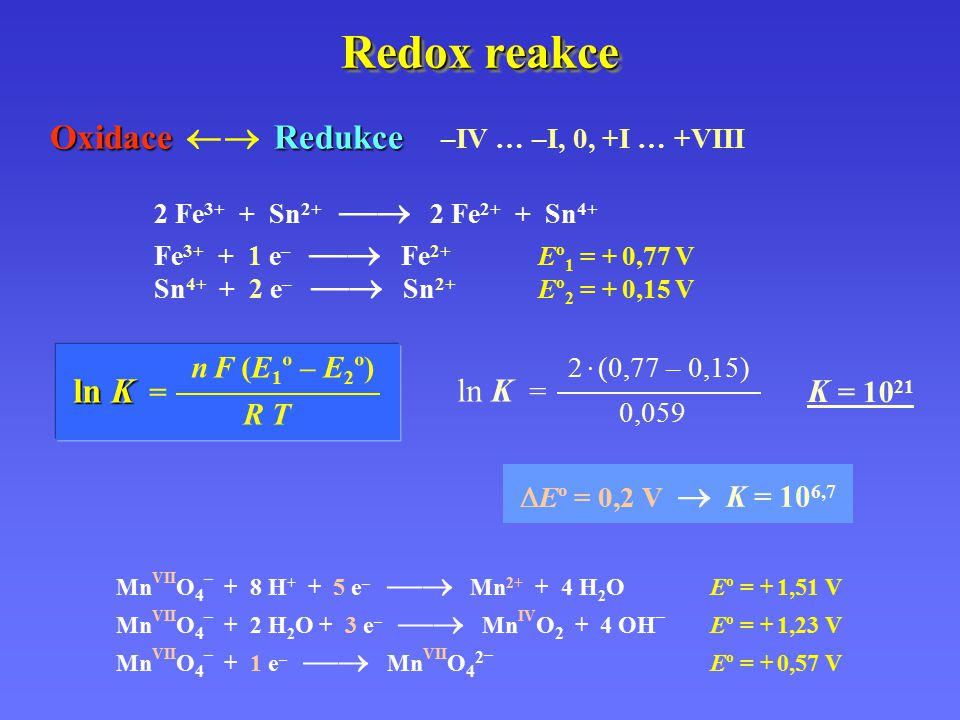 Redox reakce Oxidace  Redukce –IV … –I, 0, +I … +VIII ln K = ln K =