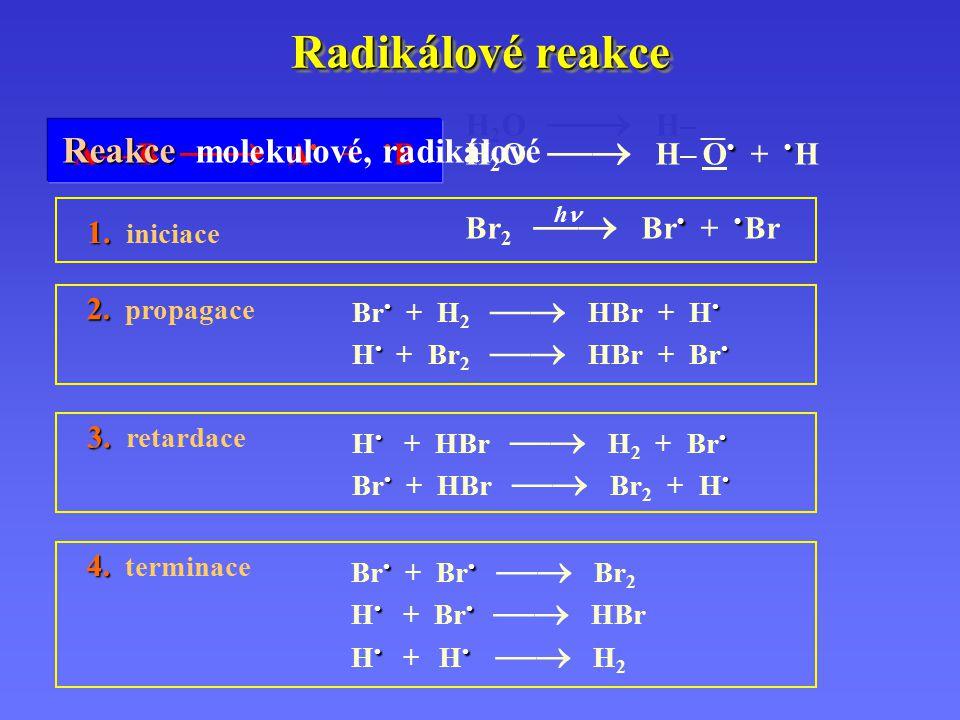 Radikálové reakce Reakce molekulové, radikálové H2O  H– __
