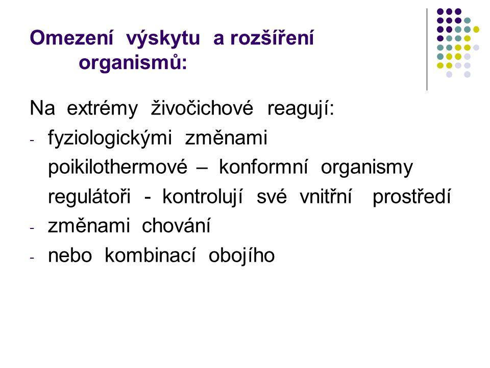 Omezení výskytu a rozšíření organismů: