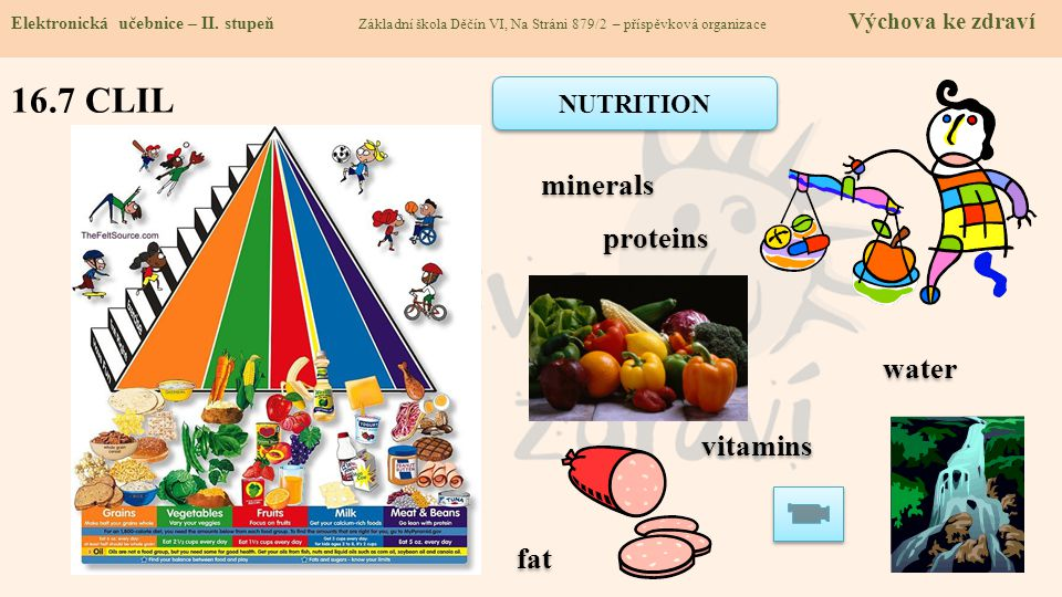 16.7 CLIL minerals proteins water vitamins fat NUTRITION
