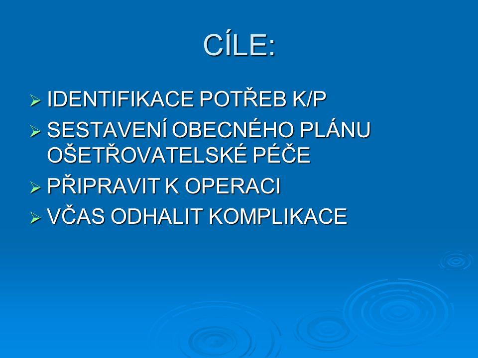CÍLE: IDENTIFIKACE POTŘEB K/P