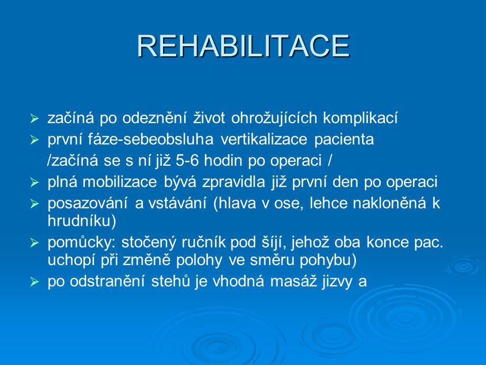 REHABILITACE začíná po odeznění život ohrožujících komplikací