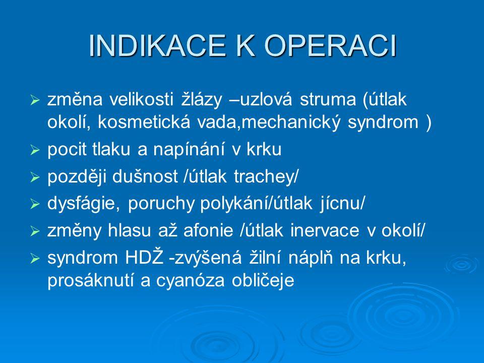 INDIKACE K OPERACI změna velikosti žlázy –uzlová struma (útlak okolí, kosmetická vada,mechanický syndrom )