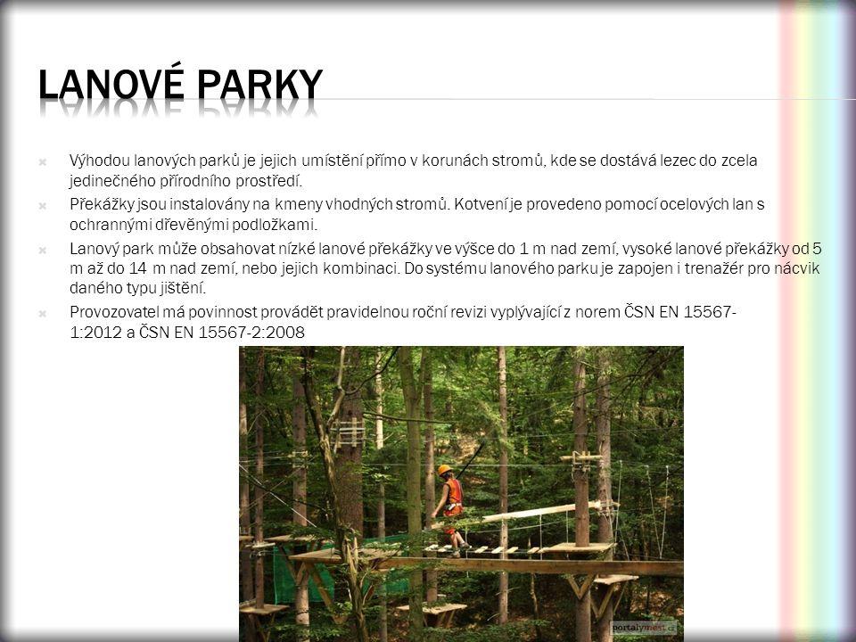 lanové parky Výhodou lanových parků je jejich umístění přímo v korunách stromů, kde se dostává lezec do zcela jedinečného přírodního prostředí.