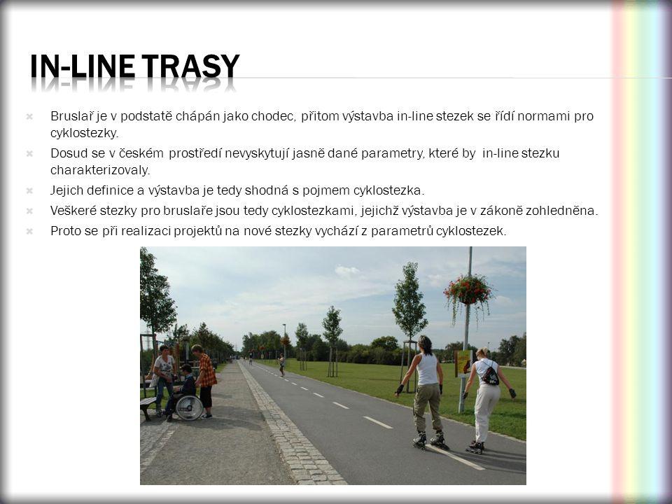 In-line trasy Bruslař je v podstatě chápán jako chodec, přitom výstavba in-line stezek se řídí normami pro cyklostezky.