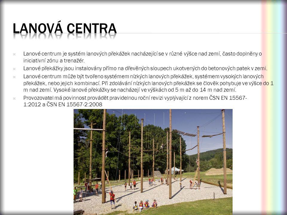 Lanová centra Lanové centrum je systém lanových překážek nacházející se v různé výšce nad zemí, často doplněny o iniciativní zónu a trenažér.