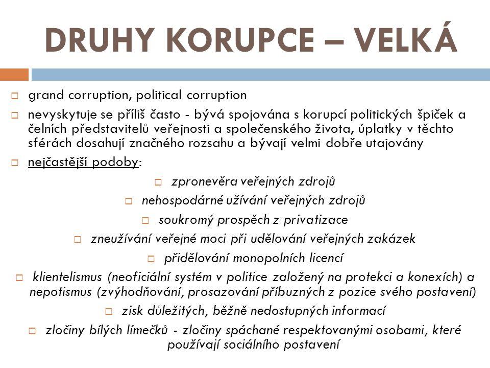 DRUHY KORUPCE – VELKÁ grand corruption, political corruption