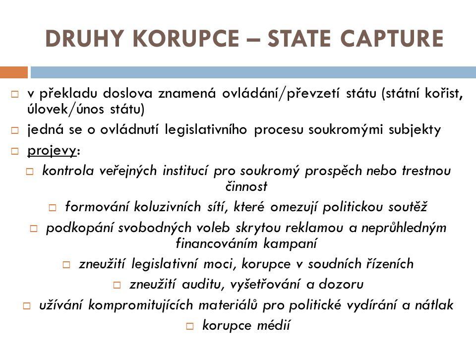 DRUHY KORUPCE – STATE CAPTURE