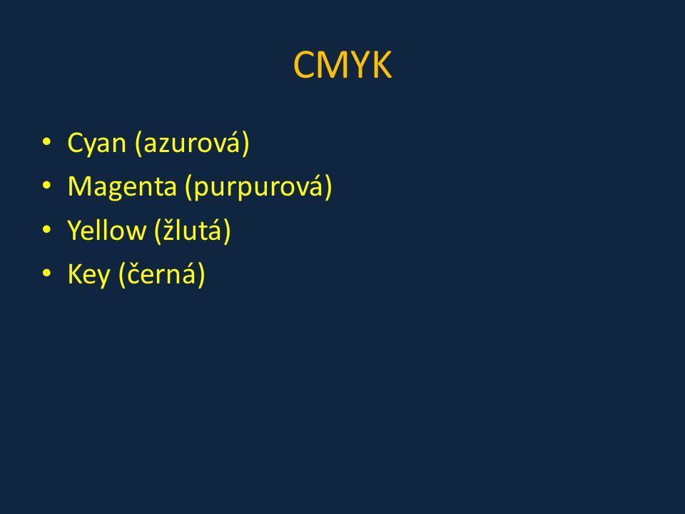 CMYK Cyan (azurová) Magenta (purpurová) Yellow (žlutá) Key (černá)