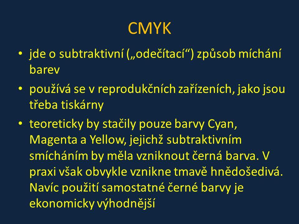 """CMYK jde o subtraktivní (""""odečítací ) způsob míchání barev"""