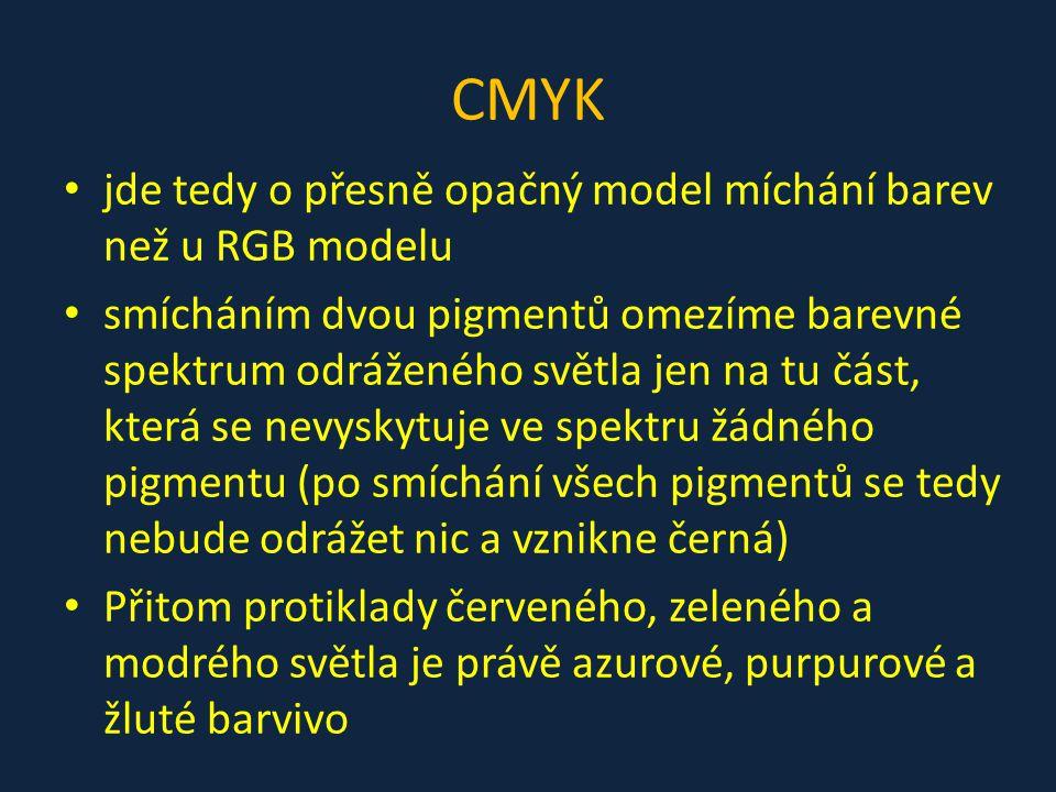 CMYK jde tedy o přesně opačný model míchání barev než u RGB modelu