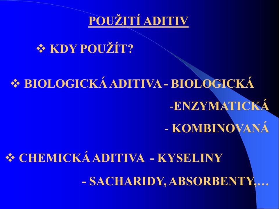 POUŽITÍ ADITIV KDY POUŽÍT BIOLOGICKÁ ADITIVA - BIOLOGICKÁ. ENZYMATICKÁ. KOMBINOVANÁ. CHEMICKÁ ADITIVA - KYSELINY.