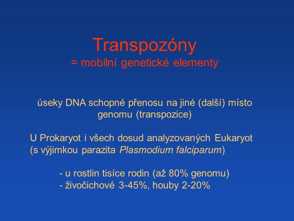 Transpozóny = mobilní genetické elementy