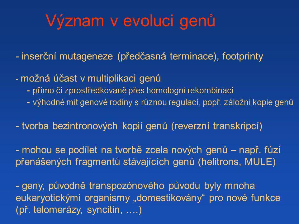 Význam v evoluci genů - inserční mutageneze (předčasná terminace), footprinty. možná účast v multiplikaci genů.