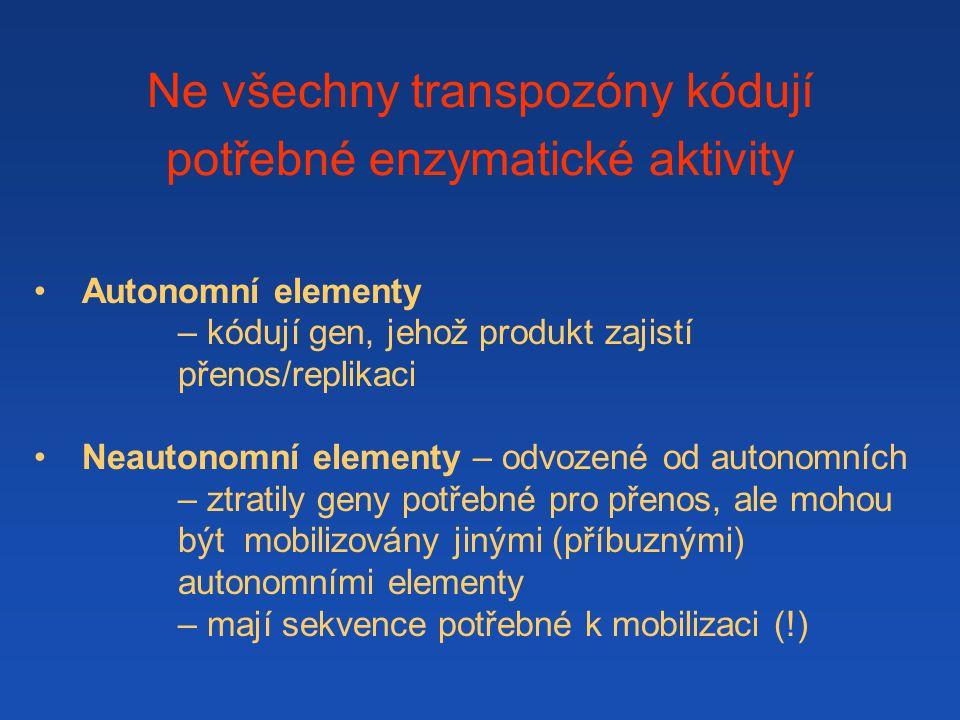 Ne všechny transpozóny kódují potřebné enzymatické aktivity