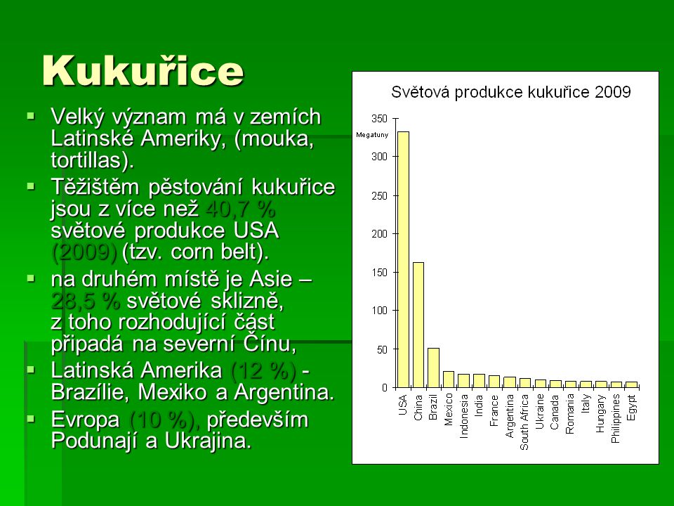 Kukuřice Velký význam má v zemích Latinské Ameriky, (mouka, tortillas).