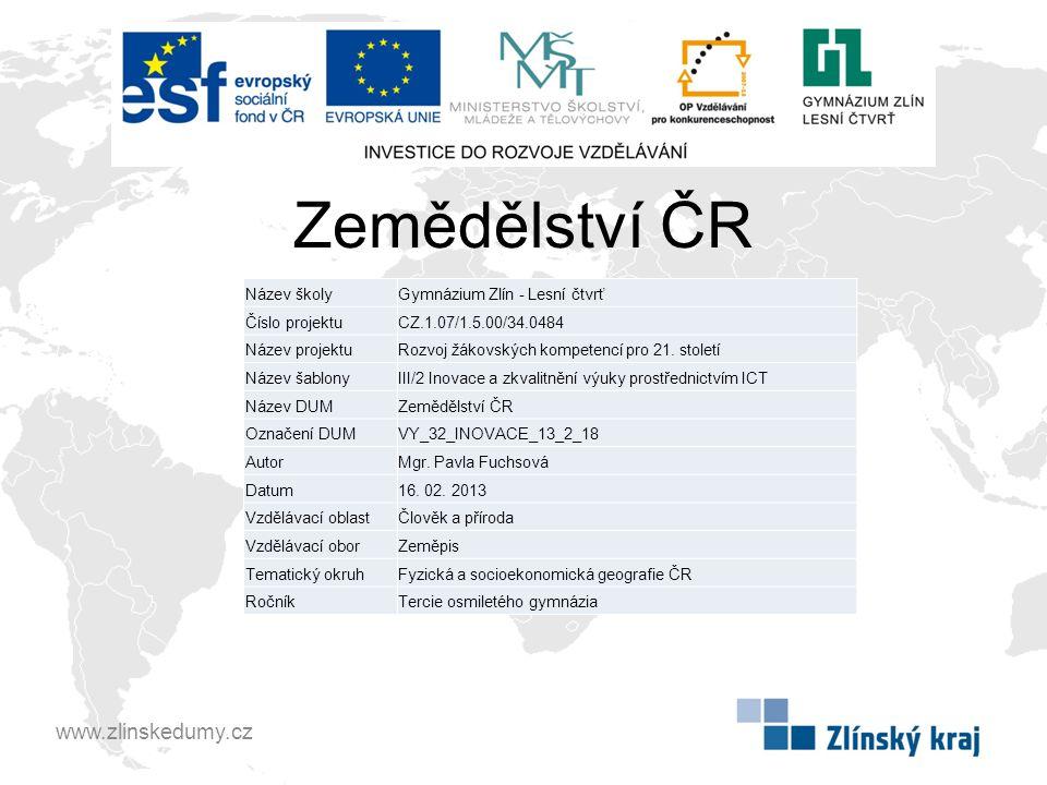 Zemědělství ČR www.zlinskedumy.cz Název školy