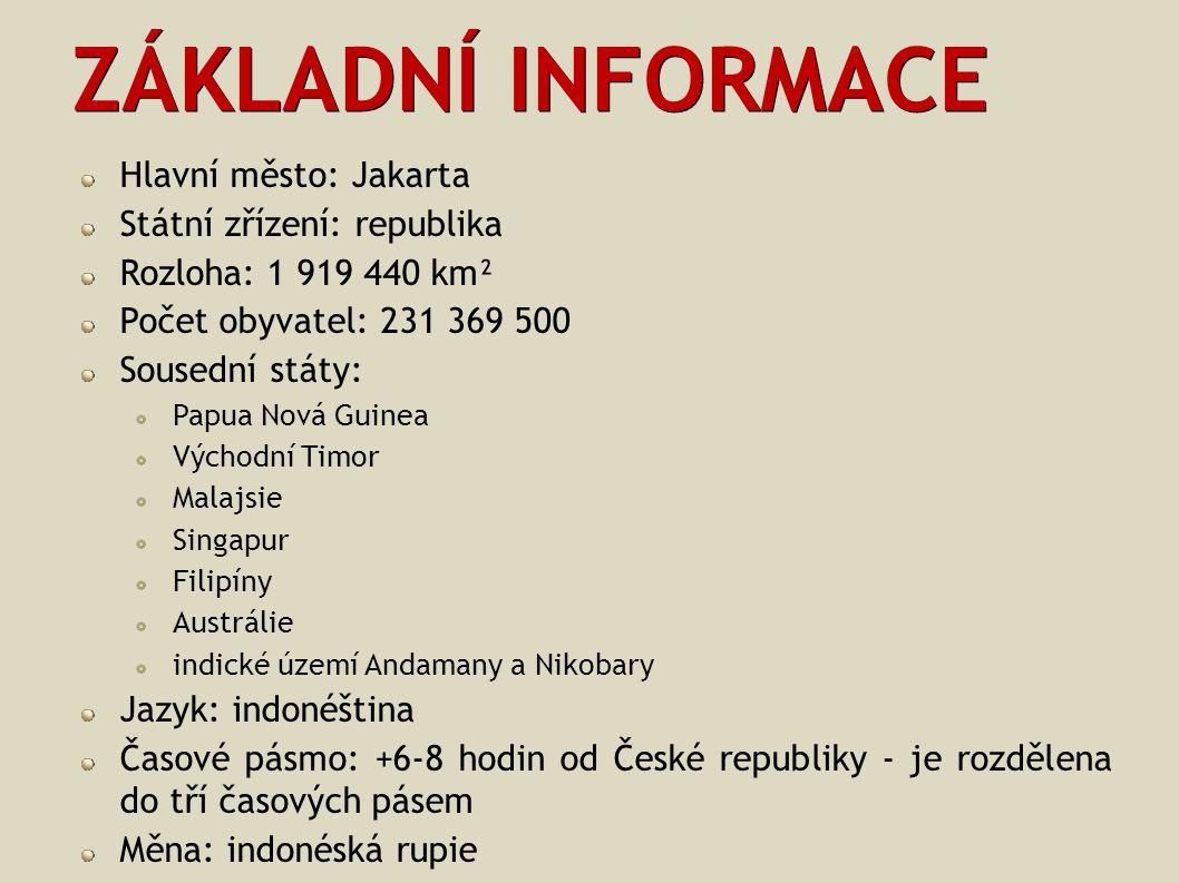 ZÁKLADNÍ INFORMACE Hlavní město: Jakarta Státní zřízení: republika